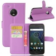 Klassisk flip cover lilla til Motorola Moto G5 plus Mobil tilbehør
