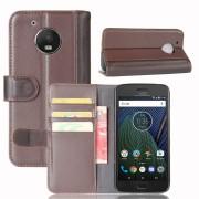 Motorola Moto G5 flip cover i split læder brun Mobilcovers