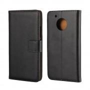 Motorola Moto G5 flip cover i ægte læder sort Mobilcover