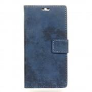 til Motorola Moto E4 flip cover i retro stil blå Mobiltilbehør