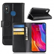 Xiaomi Mi 8 cover sort ægte læder Mobil tilbehør