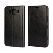 MICROSOFT LUMIA 950  cover i læder med lommer, sort Mobiltelefon tilbehør