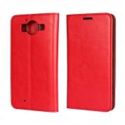 MICROSOFT LUMIA 950  cover i læder med lommer, rød Mobiltelefon tilbehør
