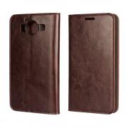 MICROSOFT LUMIA 950  cover i læder med lommer, moccabrun Mobiltelefon tilbehør