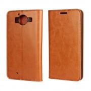 MICROSOFT LUMIA 950  cover i læder med lommer, brun Mobiltelefon tilbehør
