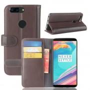 Oneplus 5T flipcover i split læder brun Mobilcovers