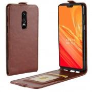 Vertikal flipcover brun Oneplus 6 Mobil tilbehør
