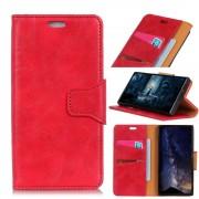 Klassisk læder cover rød Oneplus 6 Mobil tilbehør
