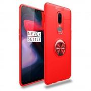 Cover med ring holder rød Oneplus 6 Mobil tilbehør
