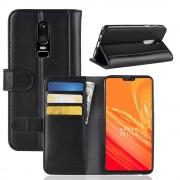 Flip cover ægte læder sort Oneplus 6 Mobil tilbehør