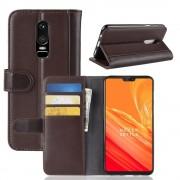 Flip cover ægte læder brun Oneplus 6 Mobil tilbehør