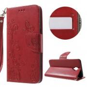 Oneplus 3T / 3 læder cover rød med lommer og mønster, Oneplus 3T-3 covers og mobil tilbehør