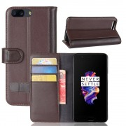 Oneplus 5 flip cover i brun split læder Mobilcover