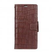 Oneplus 5 croco klassisk cover mørkebrun i ægte læder Mobilcovers