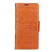 til Oneplus 5 lysebrun croco klassisk cover i ægte læder Mobilcovers