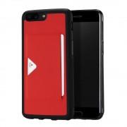 Oneplus 5 beskyttelses cover med lomme rød Mobilcovers