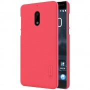 til Nokia 6 cover rød med skærm beskyttelsesfilm Mobilcover