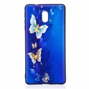 Blød cover med mønster Blue and Gold Butterfly Nokia 3 Mobilcovers