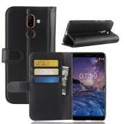 Nokia 7 plus flip cover ægte læder sort Mobil tilbehør