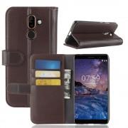 Nokia 7 plus flip cover ægte læder brun Mobil tilbehør