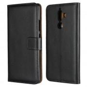 Cover ægte læder Nokia 7 plus sort Mobil tilbehør