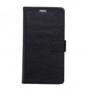 Nokia 6 flip cover i ægte læder sort Mobilcover