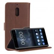 Nokia 6 flip cover i vintage stil mørkebrun Mobilcovers