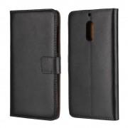 Nokia 6 cover i ægte læder med lommer sort Mobilcovers