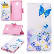 Mønstret flip cover Blue Butterfly Nokia 3 Mobilcovers