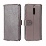 Nokia 6 læder flip cover med lommer brun Mobilcover