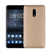 til Nokia 6 cover blød tpu carbon guld Mobilcover