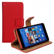 Sony Xperia Z3 compact rød ægte læder flip cover Mobilcovers