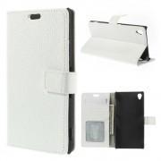 Flip cover ægte læder hvid Sony Xperia Z3 Mobil tilbehør