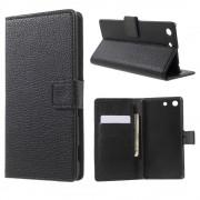 SONY XPERIA M5 læder cover med lommer, sort Mobiltelefon tilbehør