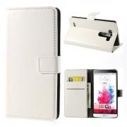 LG G3 læder cover med kort lommer hvid, Mobiltelefon tilbehør