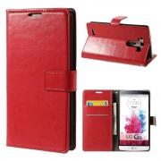 LG G3 læder cover med kort lommer rød, Mobiltelefon tilbehør