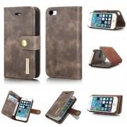 2 i 1 cover mørkebrun Iphone SE / 5 / 5S ægte læder Mobilcovers