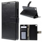 HUAWEI ASCEND P8 læder cover med kort lommer, sort Mobiltelefon tilbehør