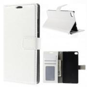HUAWEI ASCEND P8 læder cover med kort lommer, hvid Mobiltelefon tilbehør