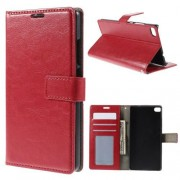 HUAWEI ASCEND P8 læder cover med kort lommer, rød Mobiltelefon tilbehør