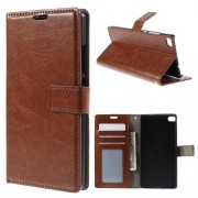 HUAWEI ASCEND P8 læder cover med kort lommer, brun Mobiltelefon tilbehør