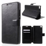 HUAWEI ASCEND P8 læder cover med lommer, sort Mobiltelefon tilbehør