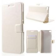 HUAWEI ASCEND P8 læder cover med lommer, hvid Mobiltelefon tilbehør