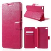 HUAWEI ASCEND P8 læder cover med lommer, rosa Mobiltelefon tilbehør