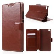 HUAWEI ASCEND P8 læder cover med lommer, brun Mobiltelefon tilbehør