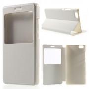 HUAWEI P8 LITE læder cover med vindue hvid, Mobiltelefon tilbehør
