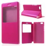HUAWEI P8 LITE læder cover med vindue rosa, Mobiltelefon tilbehør