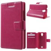 HUAWEI ASCEND Y360 læder cover med lommer, rosa Mobiltelefon tilbehør