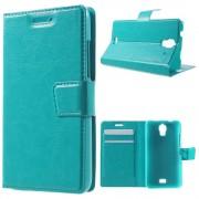 HUAWEI ASCEND Y360 læder cover med lommer, blå Mobiltelefon tilbehør