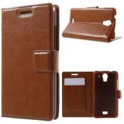 HUAWEI ASCEND Y360 læder cover med lommer, brun Mobiltelefon tilbehør